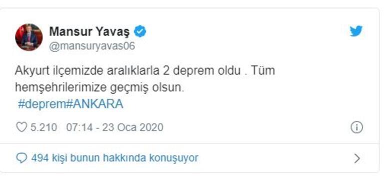 Son dakika: Ankarada peş peşe depremler.. 4.5 ve 3.8in ardından 3.6lık deprem